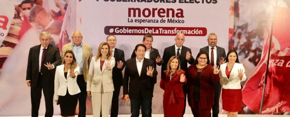 Firman gobernadores electos de MORENA carta compromiso con la Cuarta Transformación